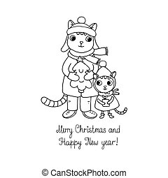 Two cute cartoon cat, tree and a gift.