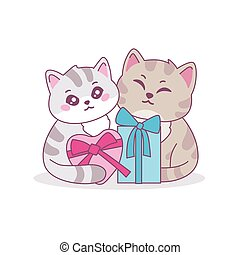 Two cute cartoon cat with gift box vector graphic illustration