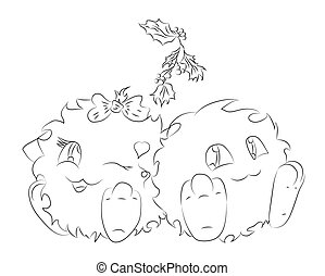 two cute cartoon monster under Christmas mistletoe