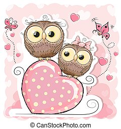 Two Cute Cartoon Owls and heart