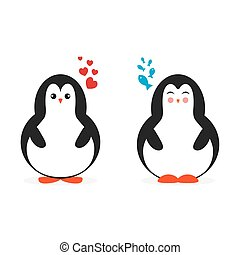 Two cute cartoon penguin for Merry Christmas and New Year?s celebration vector illustration. Love, hearts and fishes in dreams.