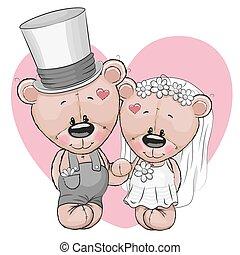 Two Cute Cartoon Teddy bears
