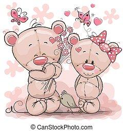 Two Cute Cartoon Teddy Bears - Greeting card Teddy boy gives...