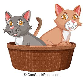 Two cute cats in basket on white background