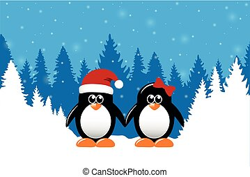 two cute christmas penguins on snowy winter forest background