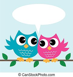 two cute colorful owls