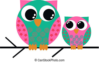 two cute colorful owls sitting on a branch