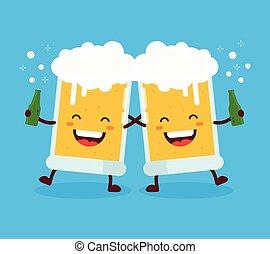 Two cute dancing fun friend drunk beer glasses