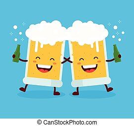 Two cute dancing fun friend drunk beer glasses