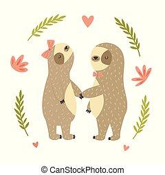 Two cute dancing sloth in love.