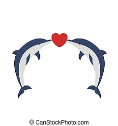 two cute dolphins being in love - vector illustration of two...