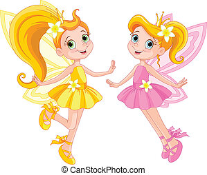 Two cute fairies - Illustration of two cute fairies in fly