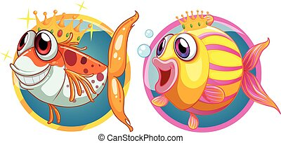 Two cute fish on round badges