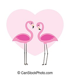 Two cute flamingos in love
