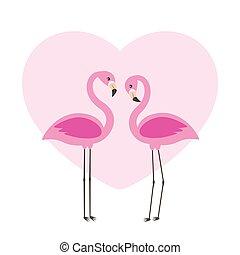 Two cute flamingos in love