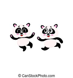 Two cute, funny baby panda characters running, hurrying, jumping happily