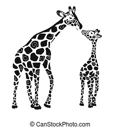 Two cute giraffes isolated on a white background. Baby giraffe and adult giraffe. Vector