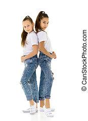 Two cute girls girlfriends posing in the studio.