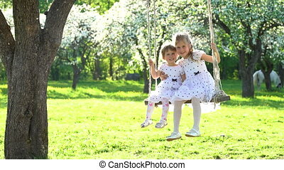 Two cute girls sisters swinging on wooden swing in beautiful spring time park
