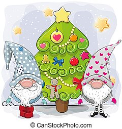 Two cute gnomes and Christmas tree