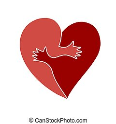 Two cute halves of heart shape embracing each other. Great as metaphor for loving couple, friendship, love togetherness.