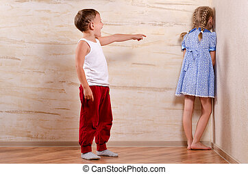 Two Cute Kids Playing Hide and Seek - Two Cute White Kids...