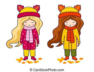 Two cute little girls in coats and big knitted scarves. Autumn fashion.