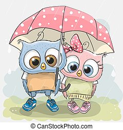 Two cute Lovers Owls - Two cute Lovers owls under pink...