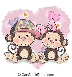 Two Cute Monkeys - Two Cute Cartoon Monkeys on a heart...