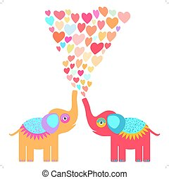 Two cute orange and red elephants with pink lilac blue orange heart on white background. Original invitation, greeting Valentine's Day, wedding card. Romantic illustration cartoon style. Vector