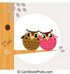 Two cute owl friends sitting on the branch