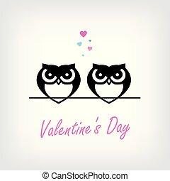 Two cute owls in love and Love word made from hearts. Valentine's day card,