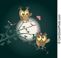two cute owls in love on a twig with hearts as flowers. vector