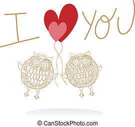 Two cute owls in love wedding card