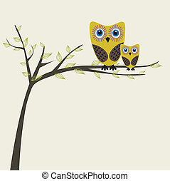 Two cute owls on the tree branch greetings card.