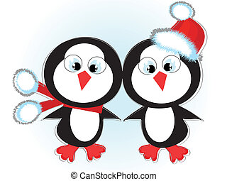 Two cute penguins, vector,
