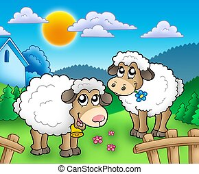 Two cute sheep behind fence - color illustration.
