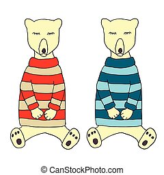Two cute sleeping bears in a pajamas. Vector illustration for poster, card. Isolated on white.