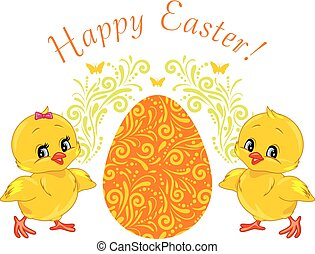Two cute smiling chicks. Design for Easter card