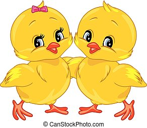 Two cute smiling chicks
