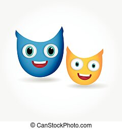 Two cute smiling owls isolated on white background.