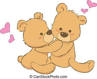 two cute teddy bears hugging