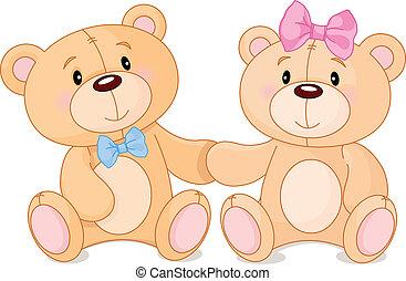 Teddy bears in love - Two cute Teddy bears in love