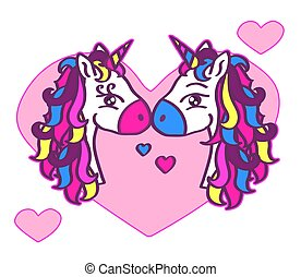 Two cute unicorns on a background of hearts.