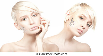 Two cute woman with stars on face