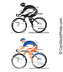 Two cyclists - Two graphic styled racing cyclists. Vector ...