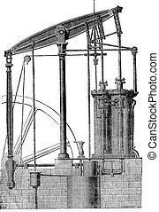 Two cylinder Steam machine, vintage engraving.