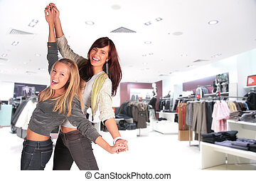 two dance girl in shop