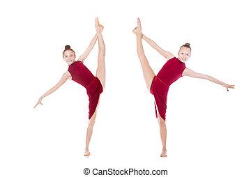 gymnast girl doing standing splits beautiful cool young
