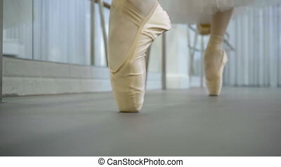 Two dancers are moving in pointe shoes in ballet studio....